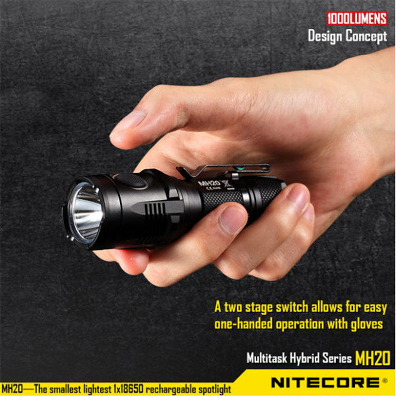 Nitecore MH20 XM-L2 U2 1000LM 5 Modes USB Rechargeable Smallest LED Light Flashlight 18650 Torch+holster+O-ring+Clip+lanyard nitecore mh10 1000lm xm l2 u2 led outdoor portable flashlight rechargeable usb charge kit with 18650 battery free shipping