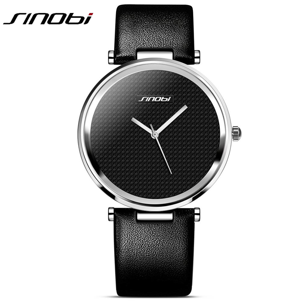 Sinobi Simple Luxury Brand Quartz Watch Women fashion Casual Rose Gold Silver Leather Ladies Wristwatch Clock Female Gift tshing ray fashion women rose gold mirror cat eye sunglasses ladies twin beams brand designer cateye sun glasses for female male