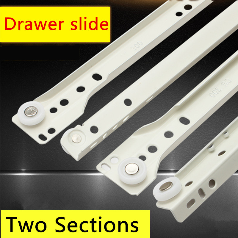 1 Pair White color Knock-down Two Sections Drawer Track Slide Guide Rail accessories Furniture Slide keyboard drawer slide rail slide chute underpinning guide pulley white mute two rail track
