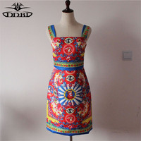 Wide Straps Flolral Dress High Fashion Runway Dresses For Women 2016 Summer Lady S Sexy Dresses