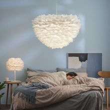 Bedroom chandelier romantic Nordic modern bedroom led lamp  living room chandelier hotel lobby personality feather light
