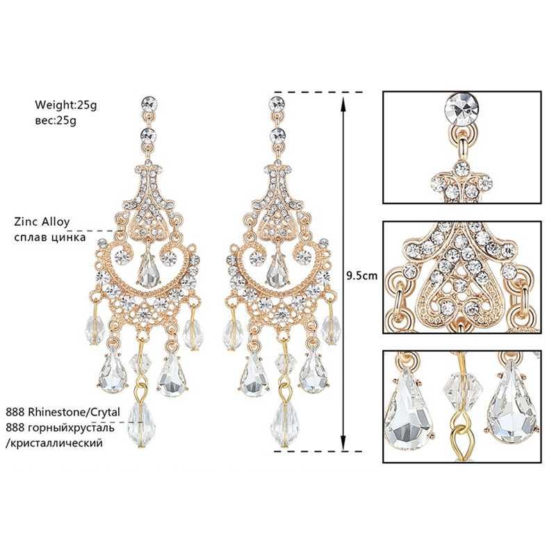 Minmin кристалл золотой цвет люстра длинные серьги для женщин Свадебные Висячие этнические серьги 2019 новые модные ювелирные изделия EH606