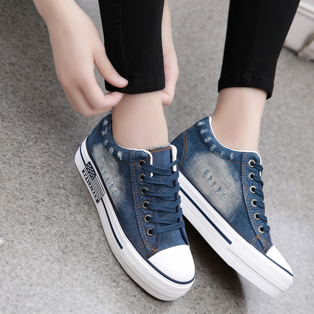 7101c1af 2016 new walking shoes women Vintage Water Wash Denim sneakers Breathable  Platform Canvas Thick Sole Trainers Zapatillas boots