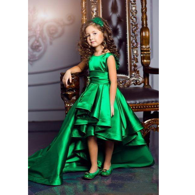 6ed46ff49 2017 Newest Hi Lo Green Girls Pageant Dresses Satin Floor Length Flower Girls  Dress Children Birthday Dresses Evening Party Gown-in Flower Girl Dresses  from ...