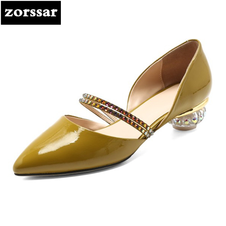 {Zorssar} 2018 New Green Rhinestone Heels Womens sandals Summer Shoes Women High Heels Pointed toe pumps Party Dress shoes new 2017 spring summer women shoes pointed toe high quality brand fashion womens flats ladies plus size 41 sweet flock t179