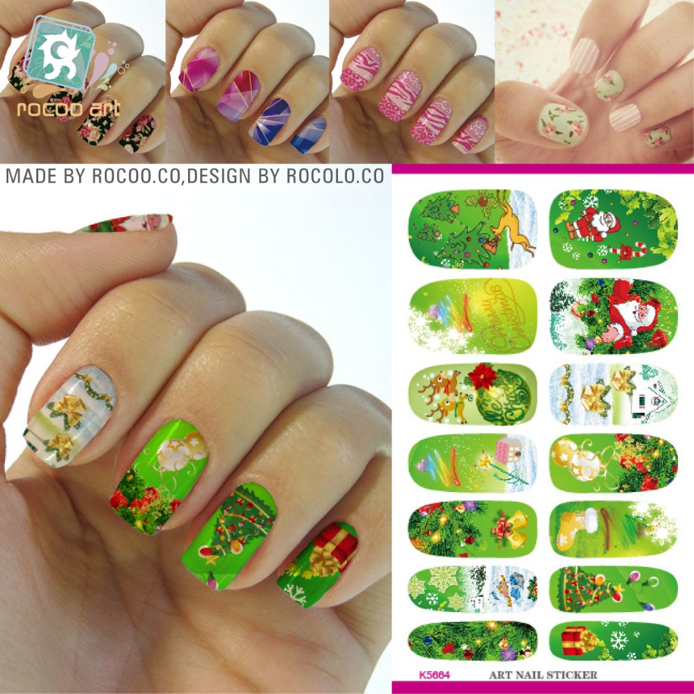 christmas nail sticker Fashion Nail Foil Santa Claus Design Water Transfer Nail Art Stickers Manicure Decoration Nail Tools