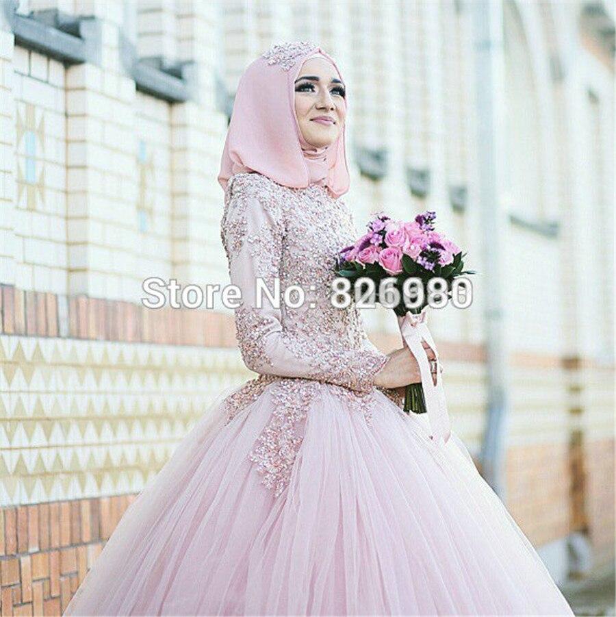 DressesRose YWD16 Ball Gown Beaded Lace Appliqued font b Hijab b font Long Sleeve Arabic Turkish