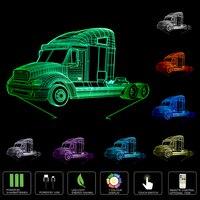 Camion pesanti 3D Auto Luce di Notte Lampada Usb 7 Colori che cambiano Remote Touch Interruttore LED Indoor Camera Da Letto Lampada Partito decor lampada