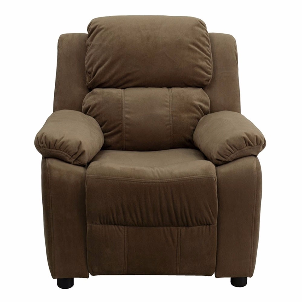 Flash Furniture Deluxe Heavily Padded Contemporary Brown Microfiber Kids Recliner with Storage Arms [863-BT-7985-KID-MIC-BRN-GG]