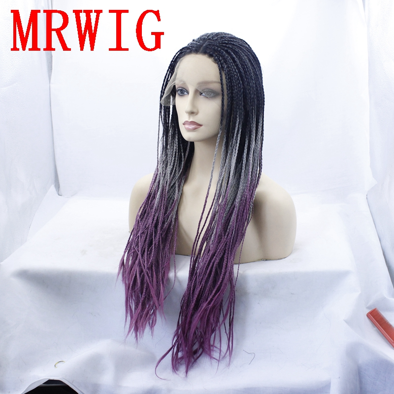 Synthetic None-lacewigs Mrwig Middle Part Box Braids Glueless Front Lace Wig 26in 650g Real Picture Ombre Black/grey/purple Braided Wigs For Black Women