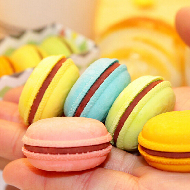 1 PCS Novelty Macaron Rubber Eraser Creative Kawaii Stationery School Supplies Papelaria Gift For Kids
