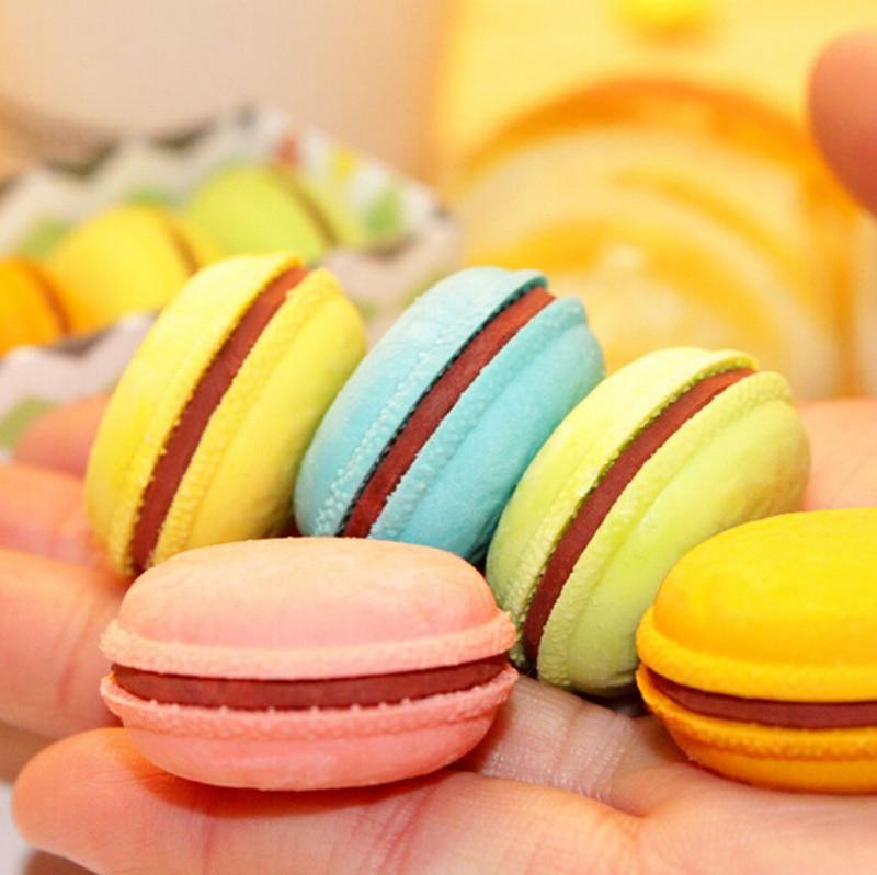 1 Pcs/Lot Novelty Macaron Rubber Eraser Creative Kawaii Stationery School Supplies Papelaria Gift For Kids