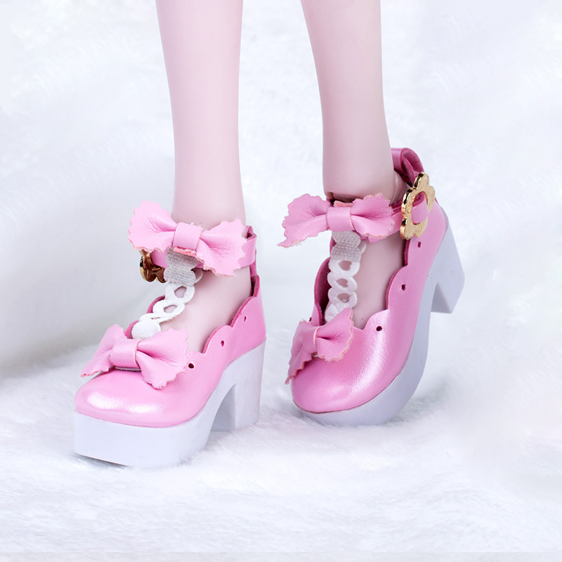 Princess Pink PU Leather Shoes High Heels for LUTS Dollfie DZ 1//4 BJD Outfit