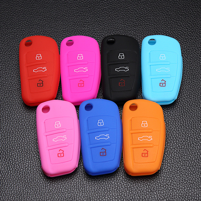 silicone car key fob cover case skin for Audi A1 A2 A3 A4 A5 A6 A7 TT Q3 Q5 Q7 R8 S6 S7 S8 SQ5 RS5 3 button remote control