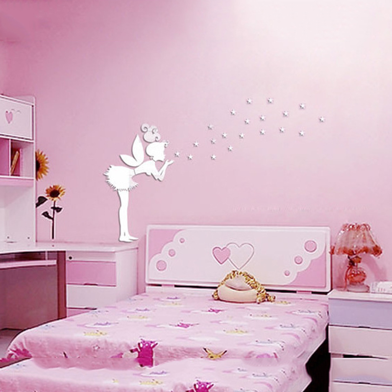 2018 Creative Angle Star Acrylic Mirror Wall Sticker for Kids Rooms ...