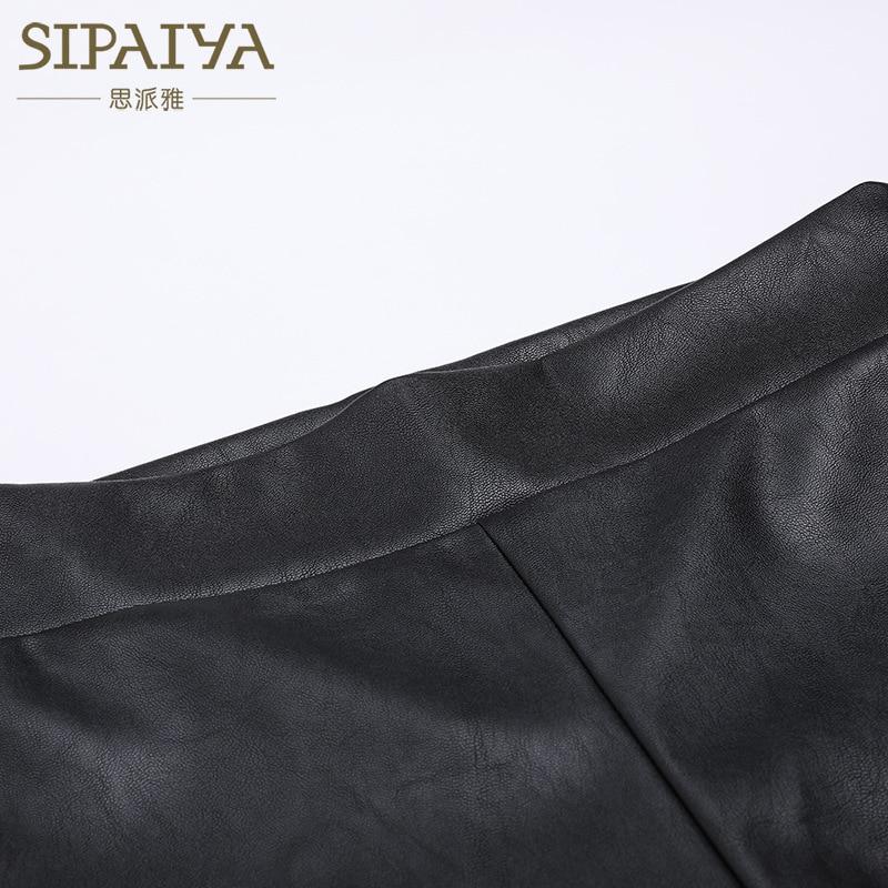 SIPAIYA 2017 femmes PU cuir pantalon moulante pantalon Capris Leggings à lacets Burr trou Sexy pantalon femmes noir crayon pantalon - 3