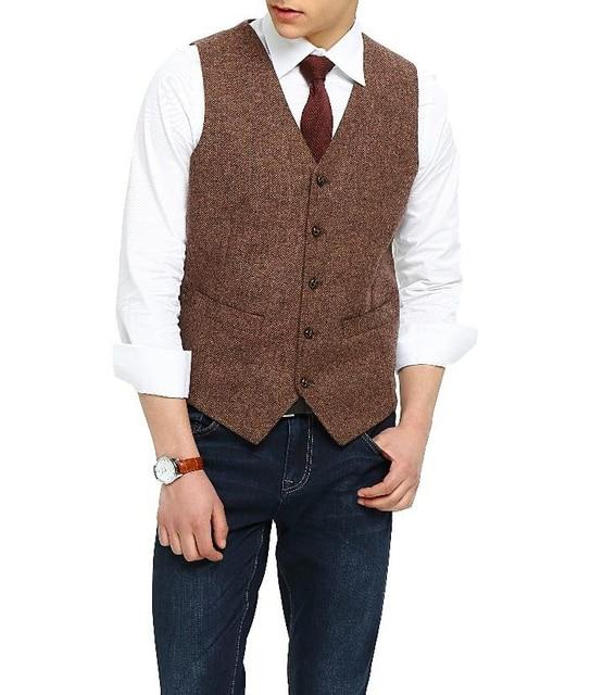 2018 Country Farm Brown Wool Herringbone Tweed Dress Vests Custom