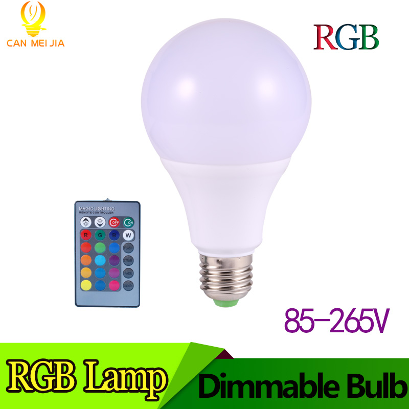 Magic E27 LED RGB Light Bulb with 16 Color Options 3w 5w 7w RGB E27 Led Spotlight with 16 Key Remote Controller AC 110V 220V zigbee bridge led rgbw 5w gu10 spotlight color changing zigbee zll led bulb ac100 240v led app controller dimmable smart led