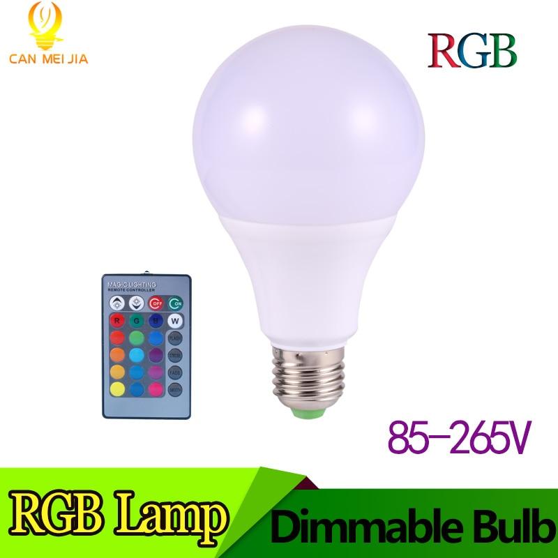 Magic E27 LED RGB Light Bulb with 16 Color Options 3w 5w 7w RGB E27 Led Spotlight with 16 Key Remote Controller AC 110V 220V lea 501dmx 5w led light engine with remote controller with dmx function