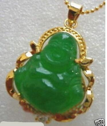 New Good Lucky Green JADE NEW Buddha Pendant&Necklace