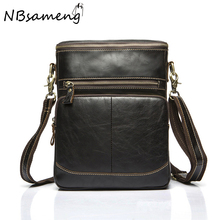 New Fashion 2016 Men 100% Genuine Cowhide Leather Handbag Casual High Quality Shoulder Bag Messager Bags Bolsa Feminina smb633