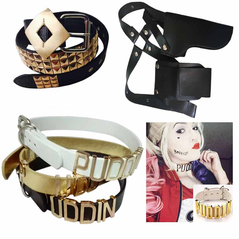 Adjustable Suicide Squad Harley Quinn Accessories Puddin Necklace Collar Gun Holster Bag Belt Harley Quinn Costume Cosplay Ожерелье