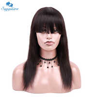 Sapphire Hair Machine Made Human Hair Wigs With Bangs For Women Non Remy Brazilian Human Hair Straight Wig Machine Made Wig