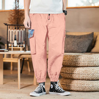 Large pocket Chinese style large size overalls men pants hip hop streetwear