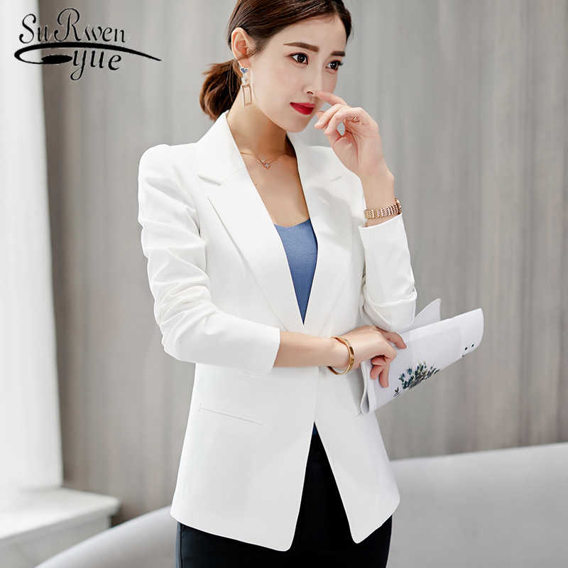 2019 Spring and Autumn New Korean Fashion Clothing Casual Long Sleeve Jacket solid elegant Slim Office Work Outwear 5030 80
