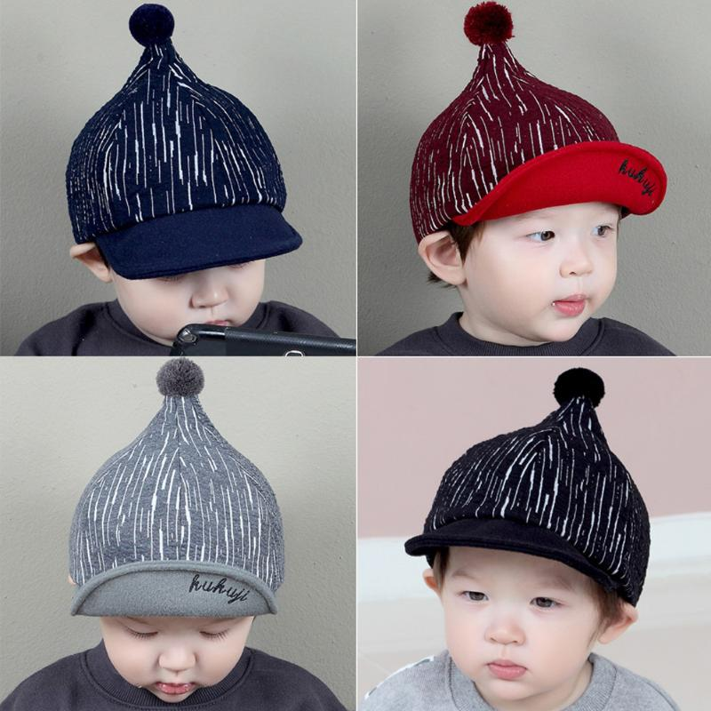 Fashion Baby Baseball Hats with Knitting Wool Ball Newborn Steeple Caps Infant Children Kids Lovely Sun Hat Cap Beanies