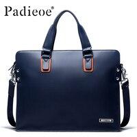 Padieoe 2018 Новая Дизайнерская кожаная мужская Портфели Для мужчин сумки на плечо кожаная сумка для ноутбука Портфель мужской Бизнес Для мужчин