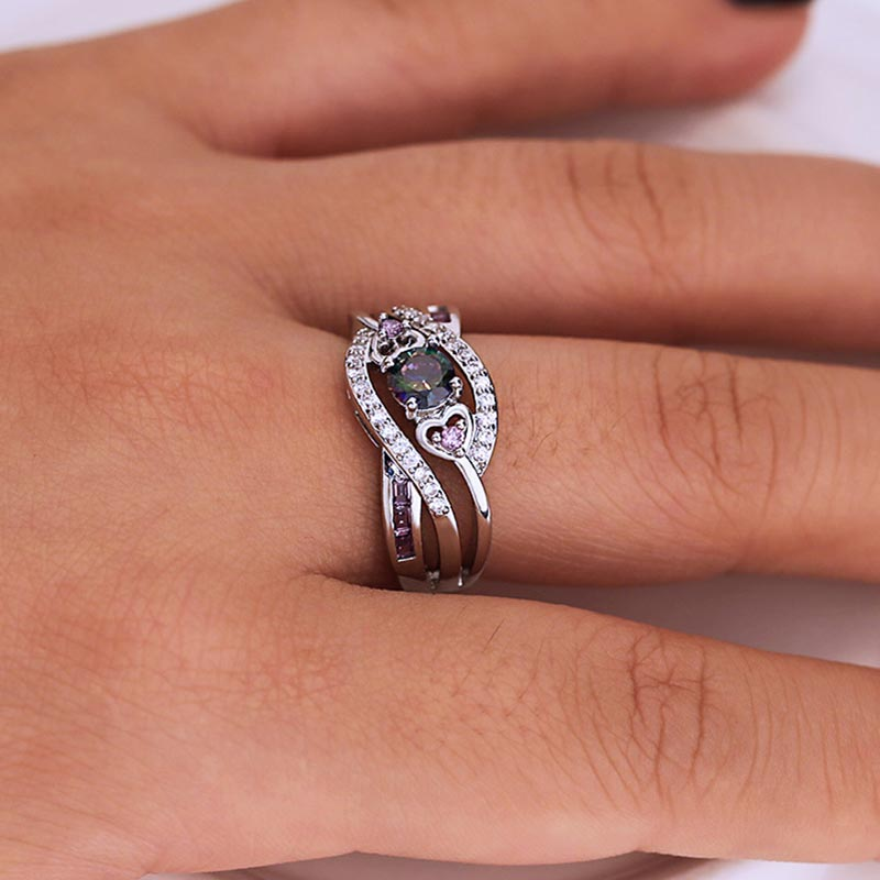 Luxury Micro Pave AAA Cubic Zirconia Rainbow Rings for Women Double Heart CZ Engagement Wedding Jewelry 2019 New Arrivals in Rings from Jewelry Accessories
