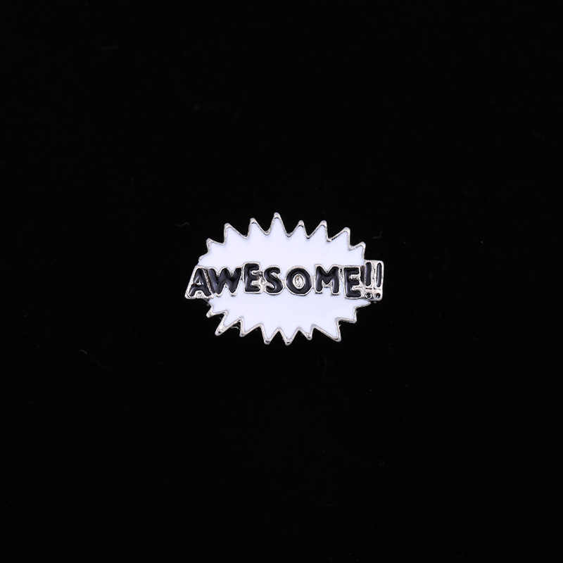 Lucu Kartun Boom Huruf Bros Unisex Wanita dan Pria Enamel Pin Pin Tombol Menghias Broches Fashion Gaun Pakaian Aksesoris