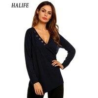 HALIFE Autumn Long Sleeve Tshirt Women Fashion Button V Neck Long Sleeve Solid Black T Shirt