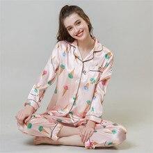 JULY'S SONG Women's Faux Silk Satin Pajamas Set Sleepwear Pajamas Long Sleeves Suit Female