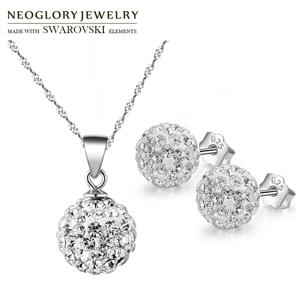 Neoglory Earrings Jewelry-Set Necklaces Gifts Rhinestone Party Silver-Plated S925 Classic
