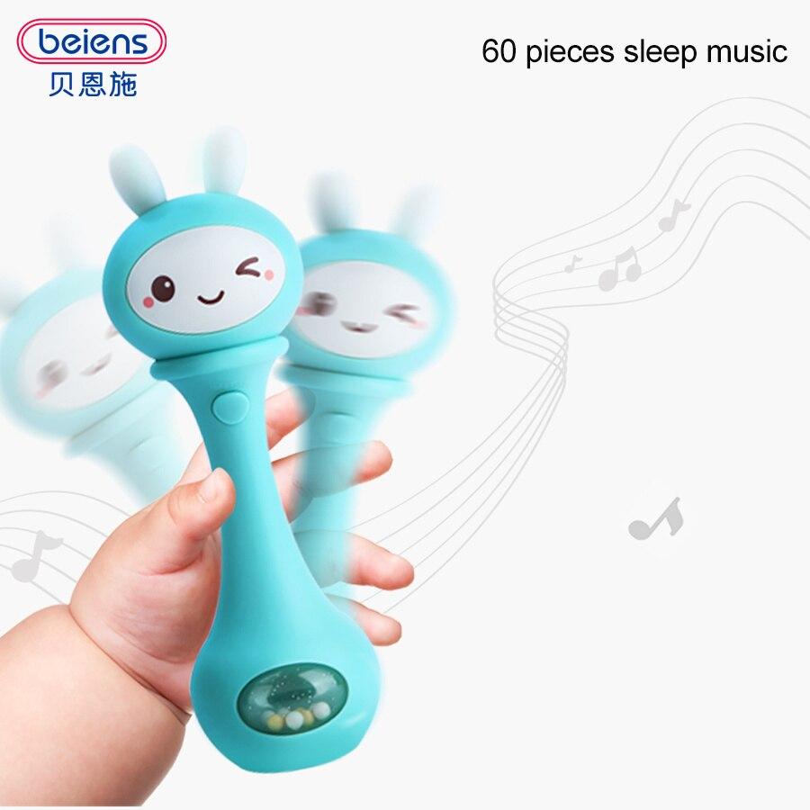 Beiens Baby Hand Glocken 4 Farbe Spielzeug Puzzle musik und Licht Schütteln Rasseln 6-12 Monate Sound und licht rhythmus induktion