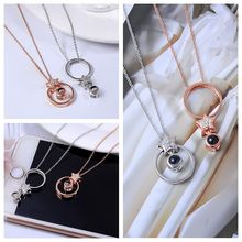 S925 Silver Fashion Charm Women 100 Languages I Love You Memory Necklace Rose Gold Roman Numerals Crystal Pendant Jewelry Gift new i love football fencing helmet charm pendant necklace alloy ancient silver fashion women