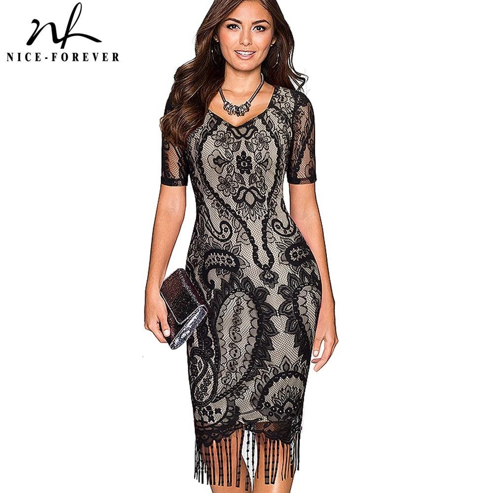 Kena-igavesti seksikas pits Tassel Hem Vintage suvel kleit stiilne lühikeste varrukatega Casual Sheath Bodycon pliiats Office naine kleit B337