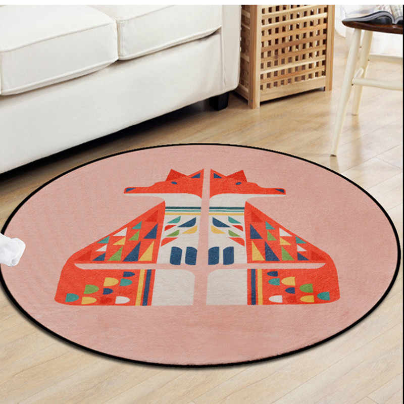 Геометрические красочные лисы круглые ковры для гостиной мультфильм мягкий ковер спальня декоративные коврики детская комната компьютерный коврик на стул и на пол