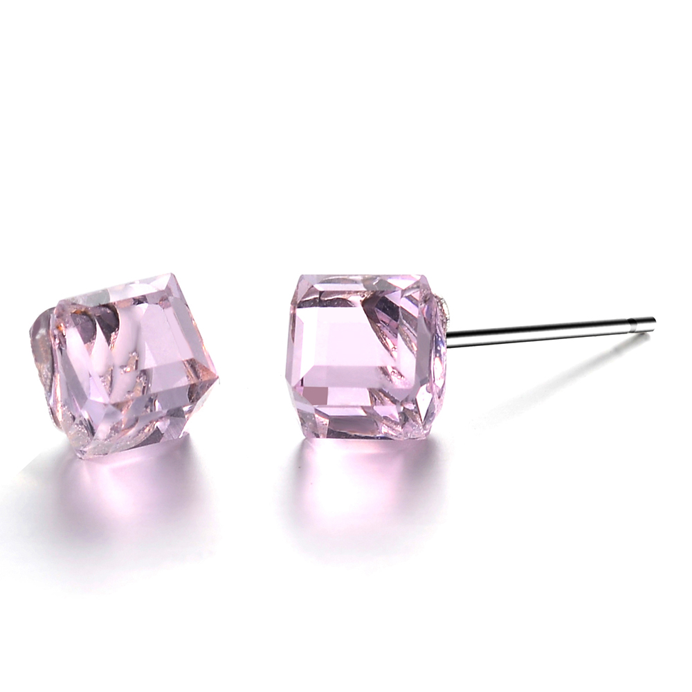 Josbores New Simple Color Square Crystal Stud Earrings For Women Silver Color Cute Littl ...