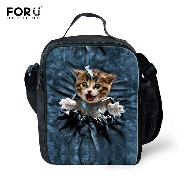 Cute 3D Animal Cat Printing Lunch Bags for Women insulated Kids Lunchbox Children School Food Container Lancheira Escolar