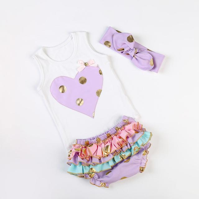 Bonito moda bebê algodão meninas roupas set recém-nascido adorável mangas ruffles Romper set 0-dois anos