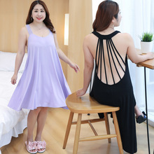 New arrival womens sexy nightwear spaghetti strap nightgown solid Knee-Length sleep elegant plus size 3XL Backless robe