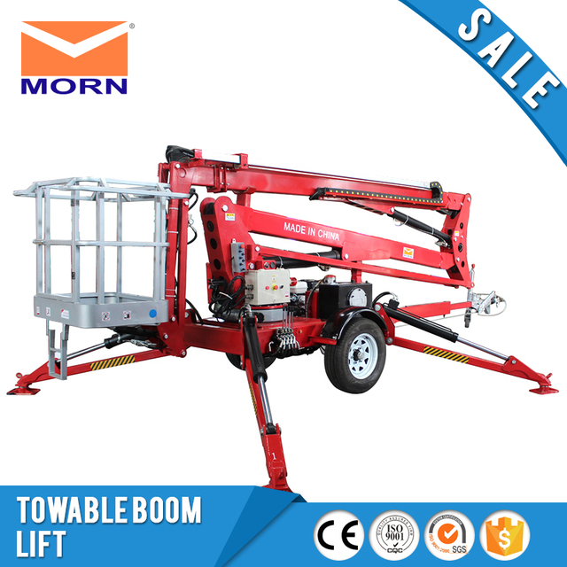 12m towable boom lift ATM0.2-8 AC power trailer mounted small 200kg mini