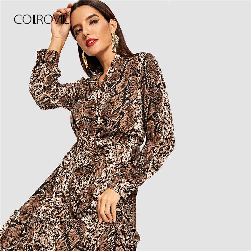 414cc989aa ... COLROVIE Snake Skin Leopard Print Vintage Maxi Dress Women Clothes  Autumn Long Sleeve Sexy Party Office ...