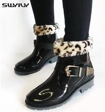 Printemps Et Automne Femmes Bottes de Pluie Avec Des Chaussettes, Martin Style Chaussures Imperméables, Slip-On Avec Paillettes Mode Couvre-chaussures en caoutchouc