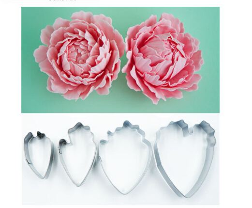 Free Shipping 4Pcs Fondant <font><b>Cake</b></font> <font><b>Decoration</b></font> Floral Petal <font><b>Cutter</b></font> Gum Paste <font><b>Flower</b></font> <font><b>Cutter</b></font> Stainless Steel Peony <font><b>Cutter</b></font> Set A729 image