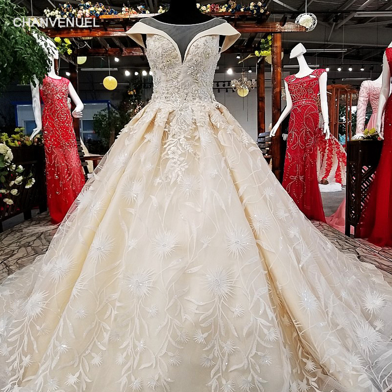 LS34541 100% Real Show Super Puffy Wedding Dress Lace