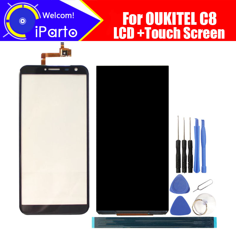 5.5 Inch OUKITEL C8 LCD Display+Touch Screen 100% Original Tested LCD+Digitizer Glass Panel Replacement For OUKITEL C8